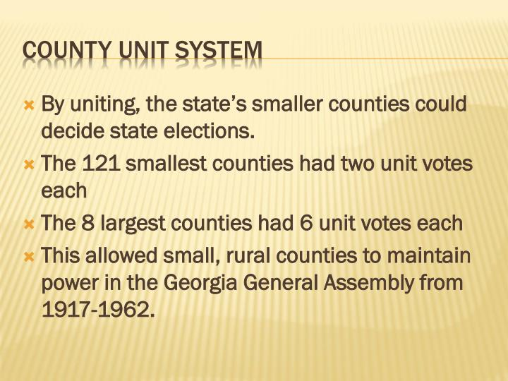 By uniting, the state's smaller counties could decide state elections.