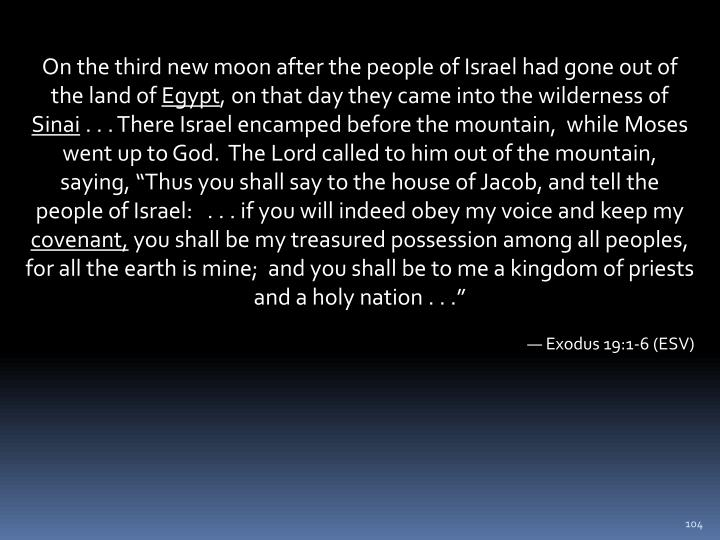 On the third new moon after the people of Israel had gone out of the land of