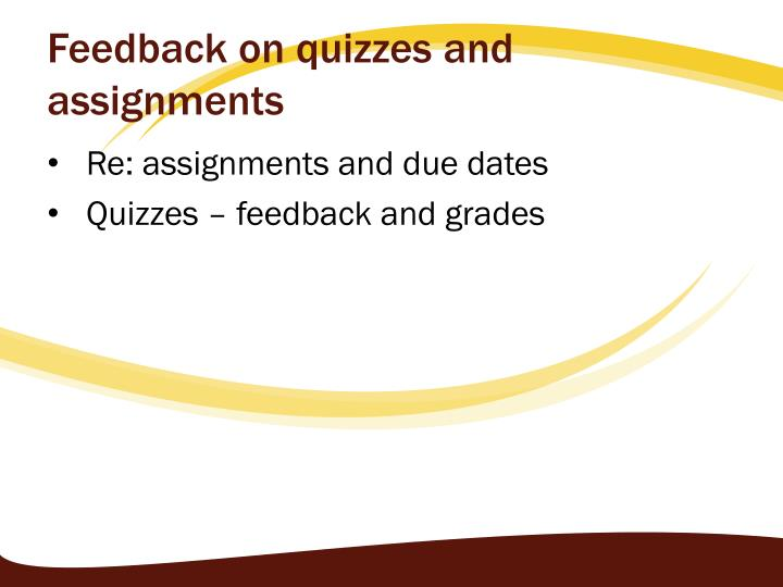 Feedback on quizzes and assignments