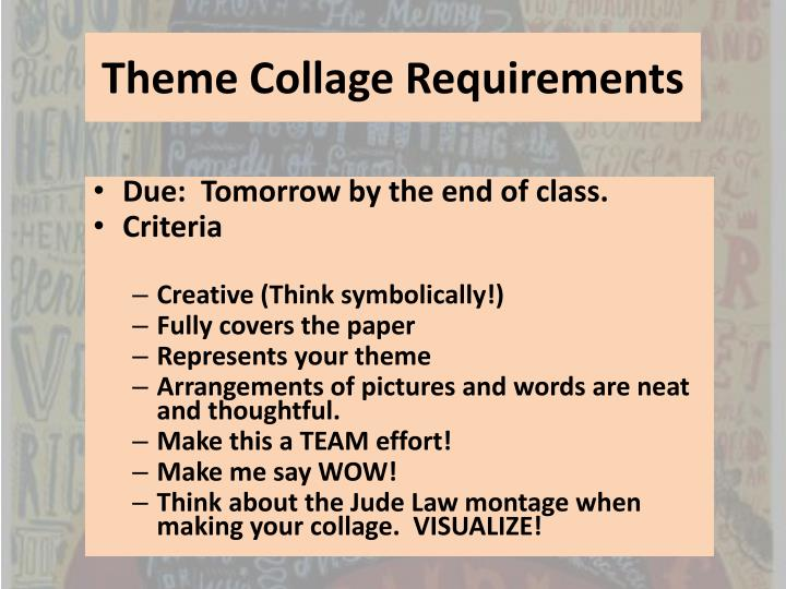 Theme Collage Requirements