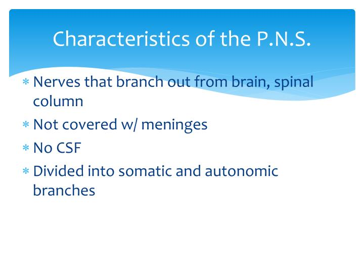 Characteristics of the p n s