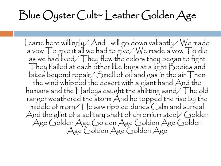 Blue Oyster Cult~ Leather Golden Age