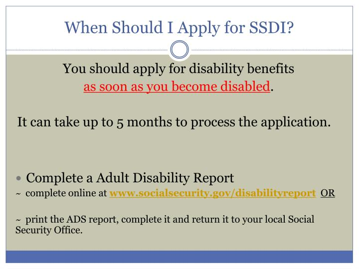 When Should I Apply for SSDI?
