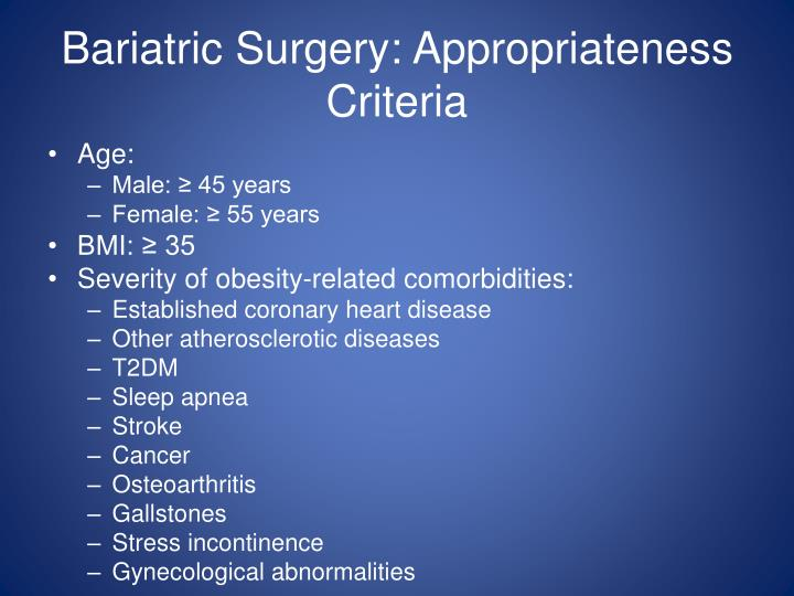 Bariatric Surgery: Appropriateness Criteria