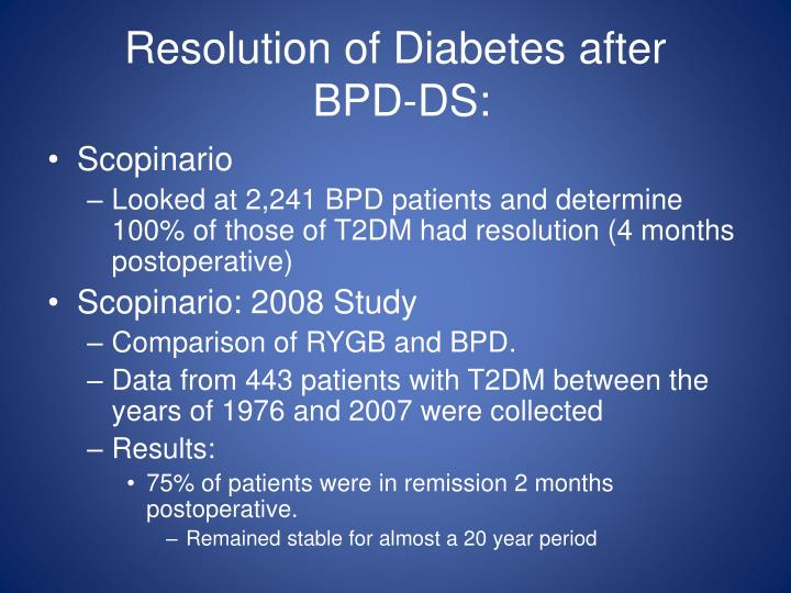 Resolution of Diabetes after