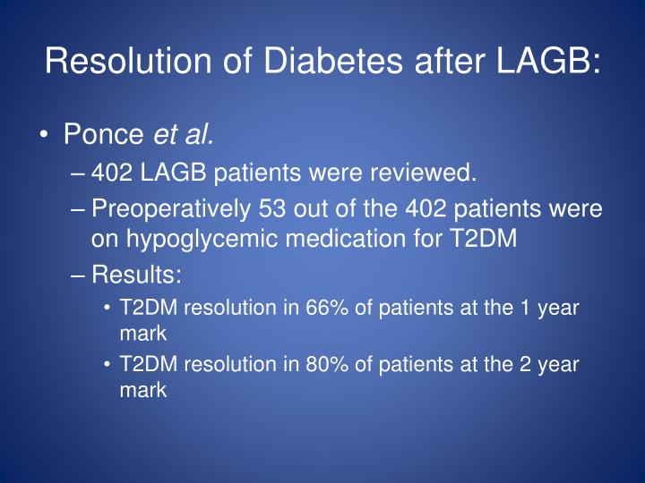 Resolution of Diabetes after LAGB: