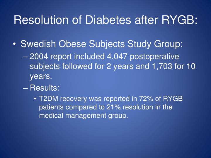 Resolution of Diabetes after RYGB: