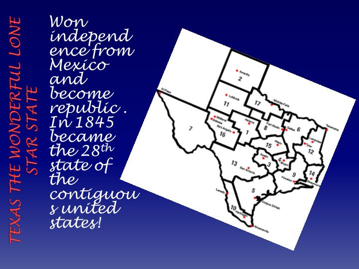 Texas the wonderful lone star state