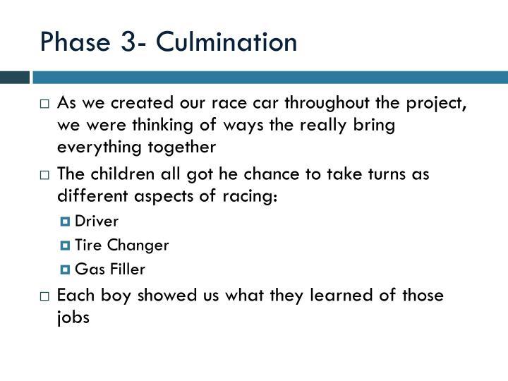 Phase 3- Culmination
