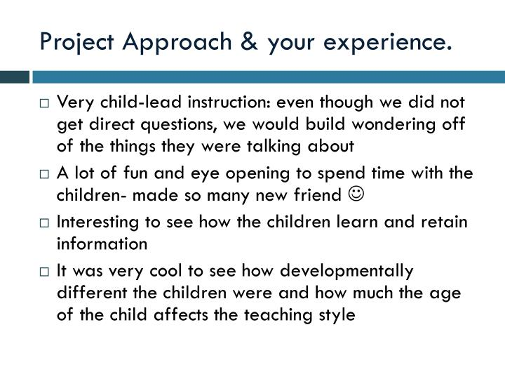 Project Approach & your experience.