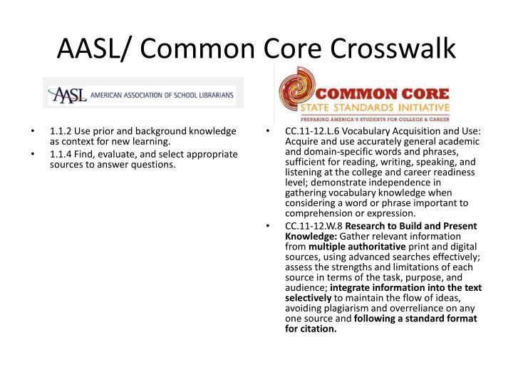 AASL/ Common Core Crosswalk