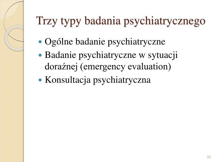 Trzy typy badania psychiatrycznego