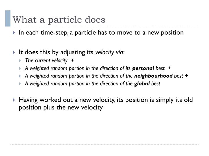What a particle does