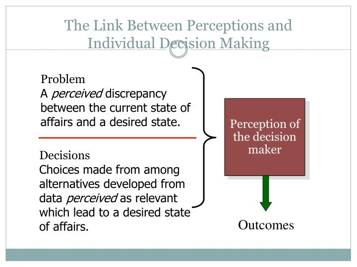 The link between perceptions and individual decision making