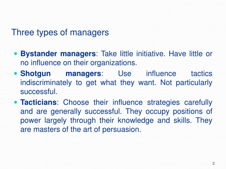 Three types of managers