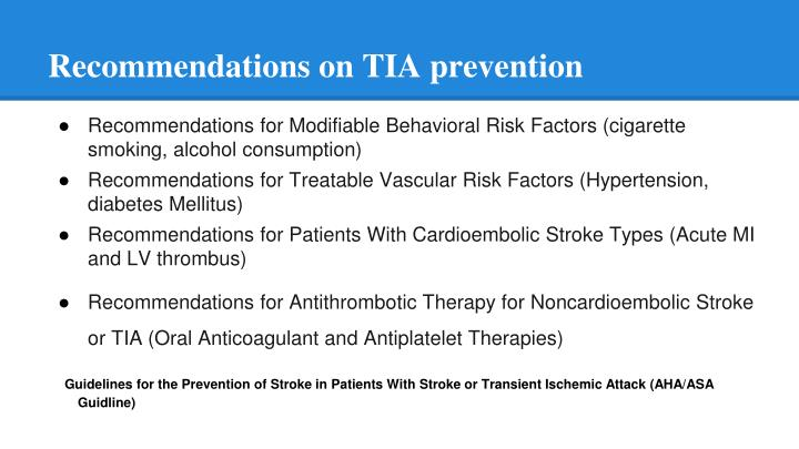 Recommendations on TIA prevention