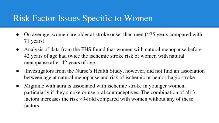 Risk Factor Issues Specific to Women