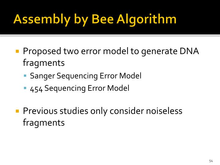 Assembly by Bee Algorithm