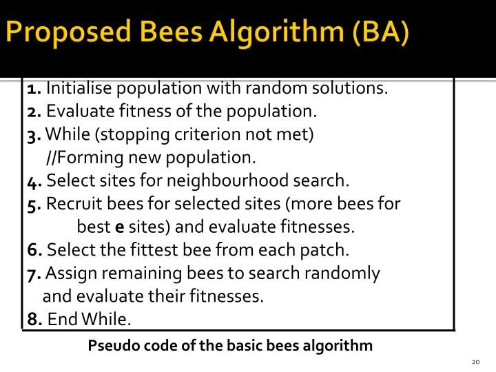 Proposed Bees Algorithm (BA)