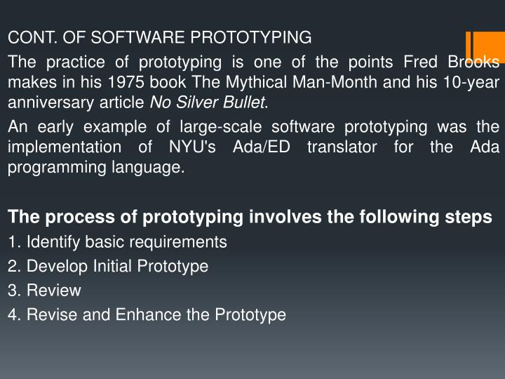 CONT. OF SOFTWARE PROTOTYPING
