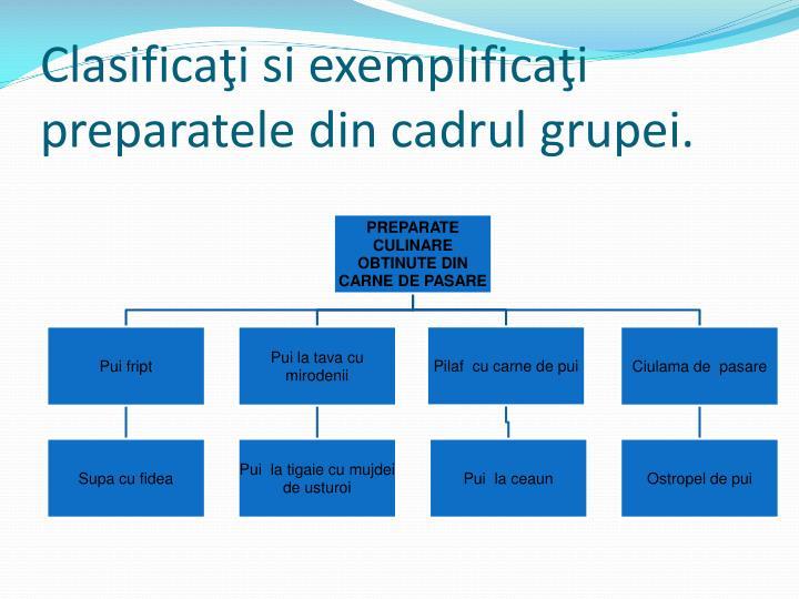 Clasificaţi si exemplificaţi preparatele din cadrul grupei.