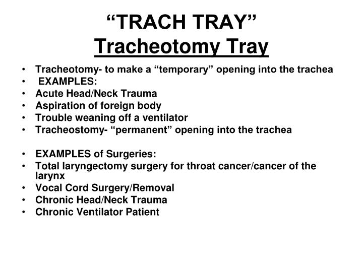 Trach tray tracheotomy tray