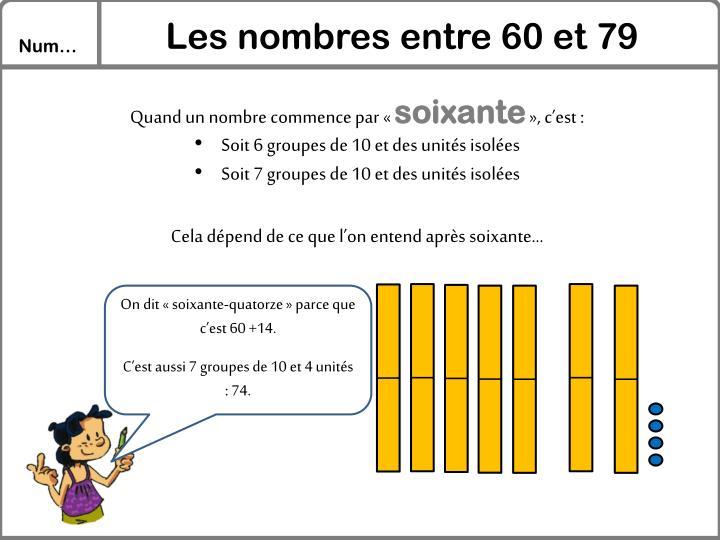 Les nombres entre 60 et 79