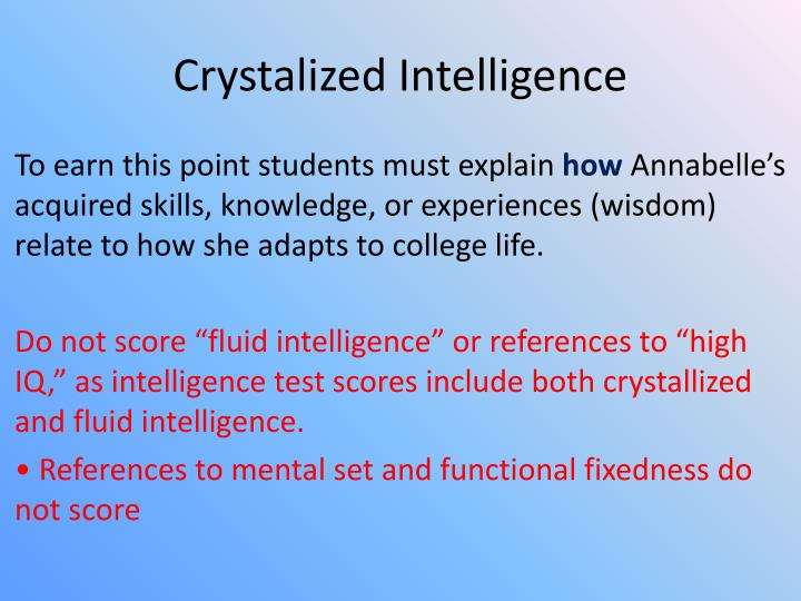 Crystalized Intelligence