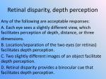retinal disparity depth perception