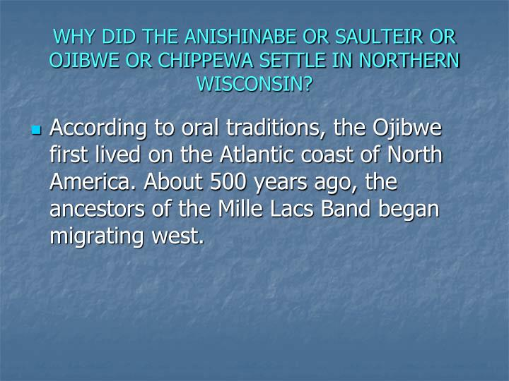 WHY DID THE ANISHINABE OR SAULTEIR OR OJIBWE OR CHIPPEWA SETTLE IN NORTHERN WISCONSIN?