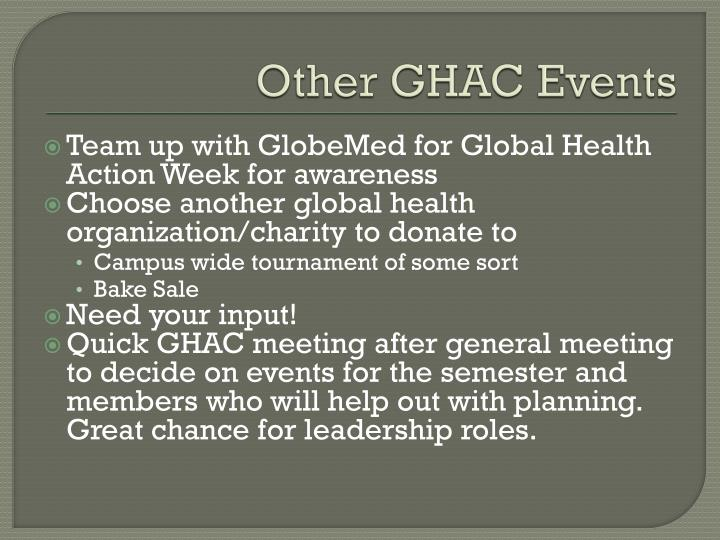 Other GHAC Events