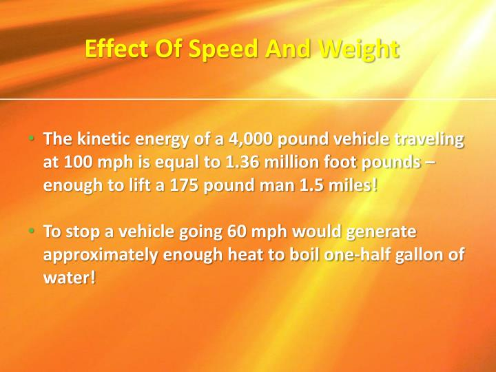 Effect Of Speed And Weight