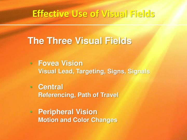 Effective Use of Visual Fields