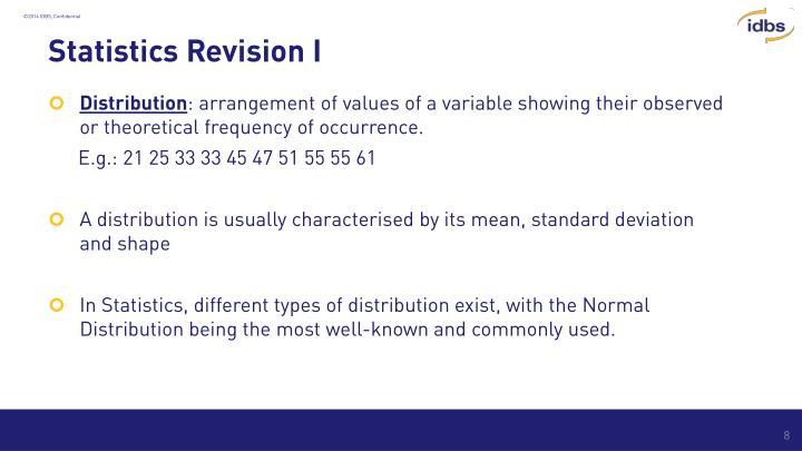 Statistics Revision I