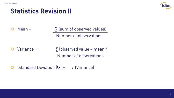 Statistics Revision II