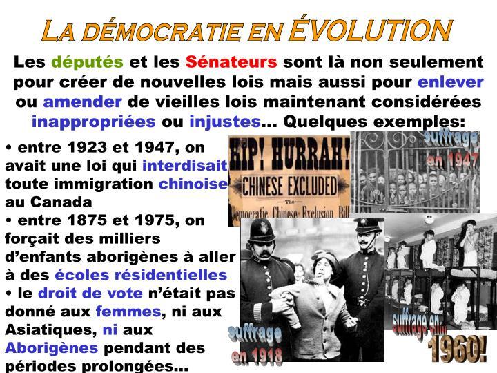 La démocratie en ÉVOLUTION