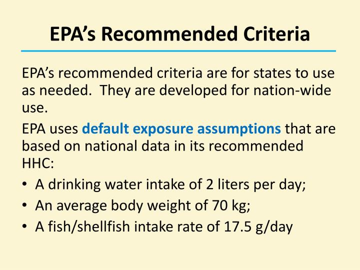 EPA's Recommended Criteria