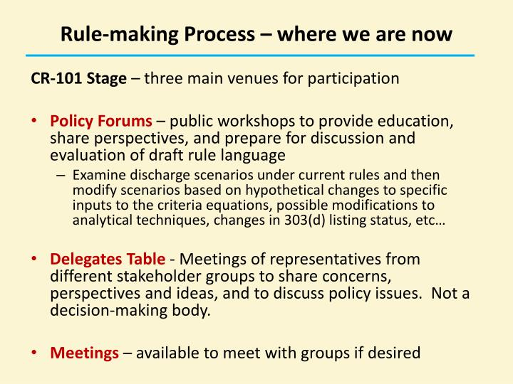 Rule-making Process – where we are now