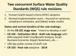 two concurrent surface water quality standards wqs rule revisions