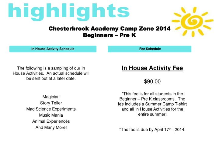 Chesterbrook academy camp zone 2014 beginners pre k