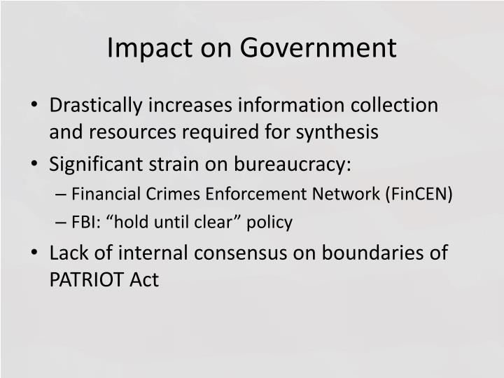 Impact on Government