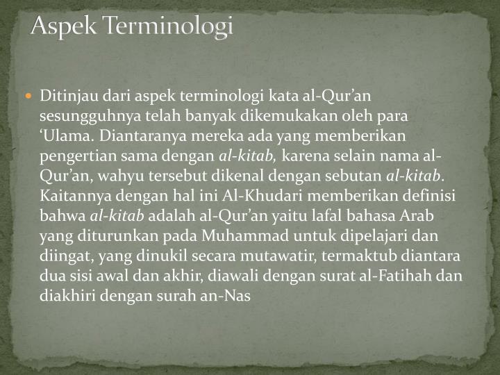 Aspek Terminologi