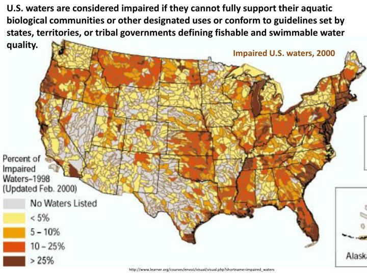 U.S. waters are considered impaired if they cannot fully support their aquatic biological communities or other designated uses or conform to guidelines set by states, territories, or tribal governments defining fishable and swimmable water quality.