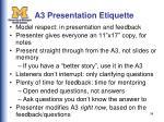 a3 presentation etiquette
