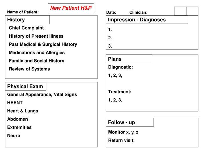 New Patient H&P