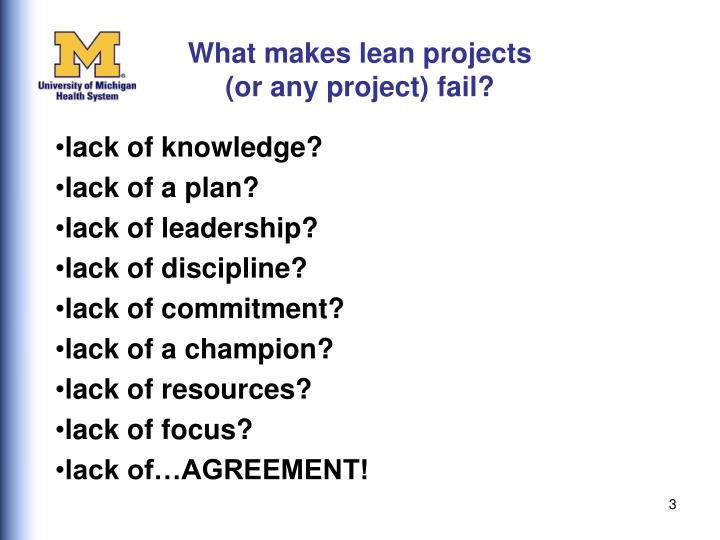 What makes lean projects or any project fail