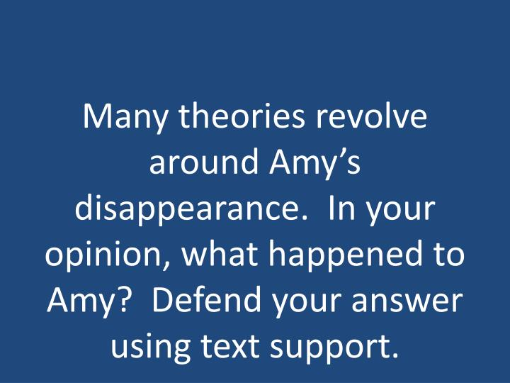 Many theories revolve around Amy's disappearance.  In your opinion, what happened to Amy?  Defend your answer using text support.