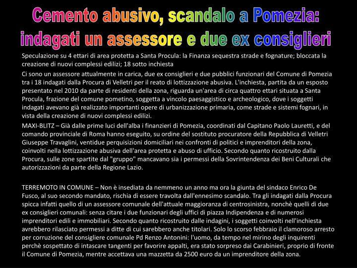 Cemento abusivo, scandalo a Pomezia: