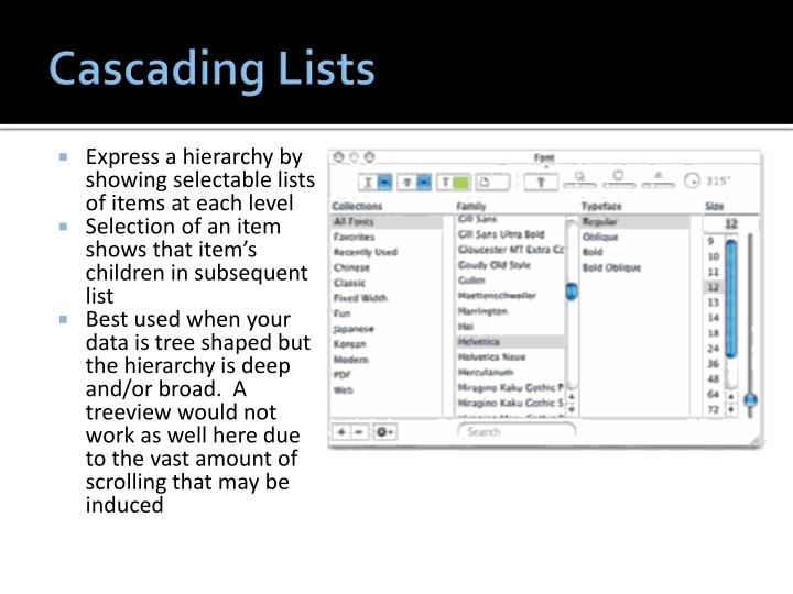 Cascading Lists