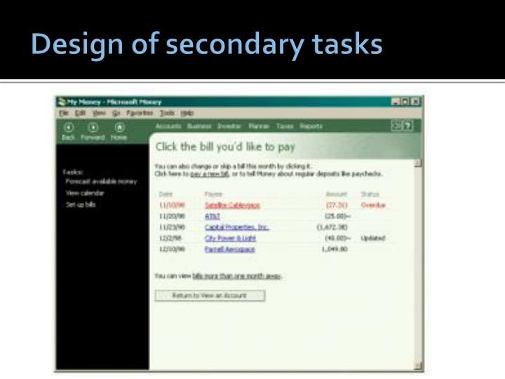 Design of secondary tasks